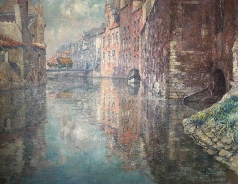"""WILLAERT Ferdinand Figurative Painting - """"OUDE VAART TE GENT / THE OLD CITY OF GHENT, BELGIUM"""""""