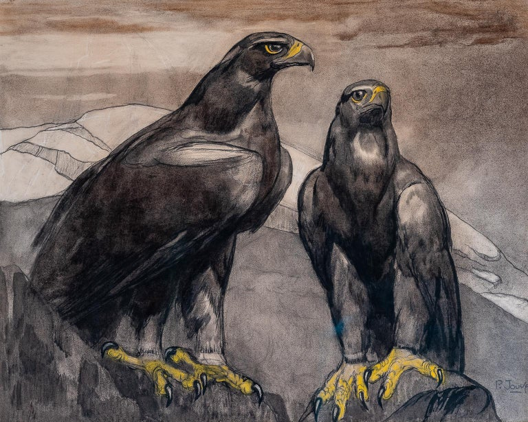 "JOUVE Paul Figurative Art - ""TWO EAGLES ON A ROCK"""