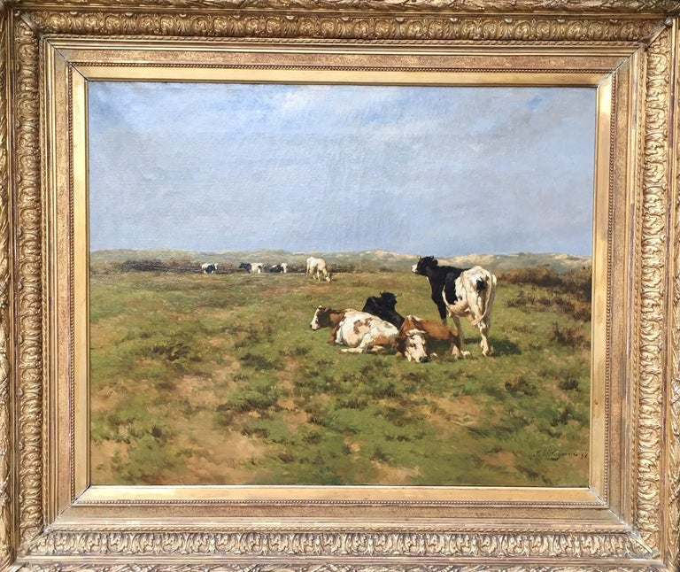 """COWS IN THE DUNES"" - Painting by BOGMAN Hermanus Charles Christiaan"