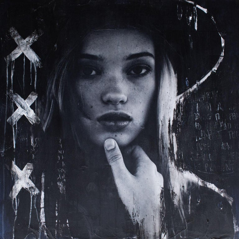 Contemporary Art Portrait Painting: Big Hats And Backgrounds Black (Hannah-A2) - Mixed Media Art by Addison Jones