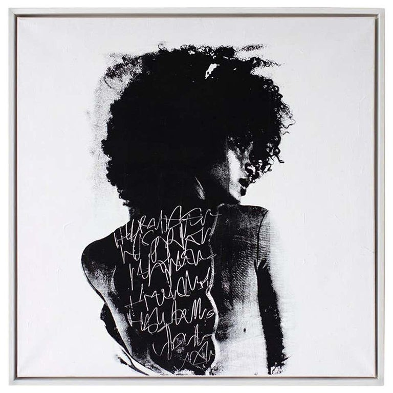 "Contemporary Portrait Painting, modern art, To Write Graffiti on her Back  ABOUT THIS CONTEMPORARY PIECE: ""To Write Graffiti on Her Back  (Cortney-A1)"" is a custom mixed media street art piece by Addison Jones. It is done with color changing and"
