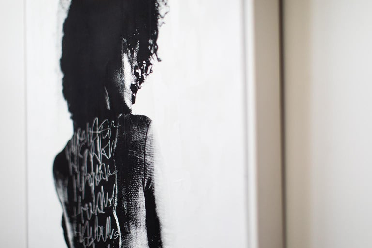 Contemporary Portrait Painting, modern art, To Write Graffiti on her Back For Sale 4