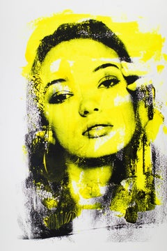 Yellow Pop Art Portrait: Are You Still There? in Yellow (Hannah-A1)