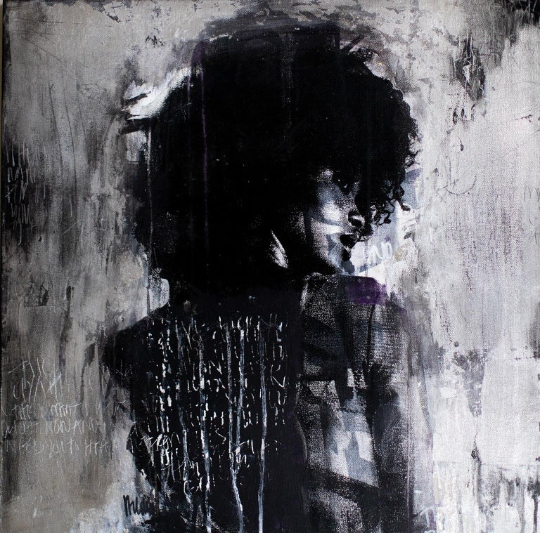 """ABOUT THIS PIECE: """"Shadow Girl, (Cortney-A4)"""" is mixed media street art by Addison Jones featuring her own portrait photography. It's produced using silver leaf on stretched canvas. This piece can be classified as Contemporary Art, Mixed Media Art,"""