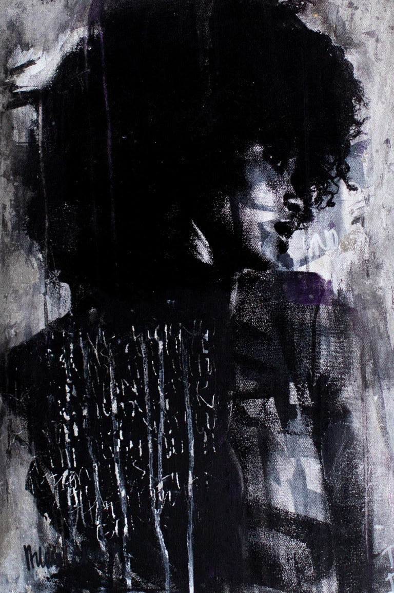 Contemporary Art Mixed Media Art : Shadow Girl, (Cortney-A4) For Sale 2