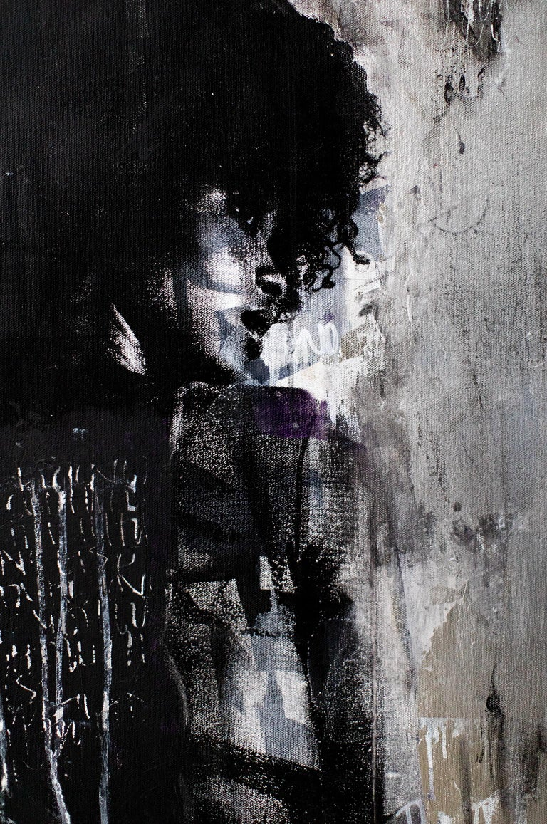 Contemporary Art Mixed Media Art : Shadow Girl, (Cortney-A4) For Sale 6