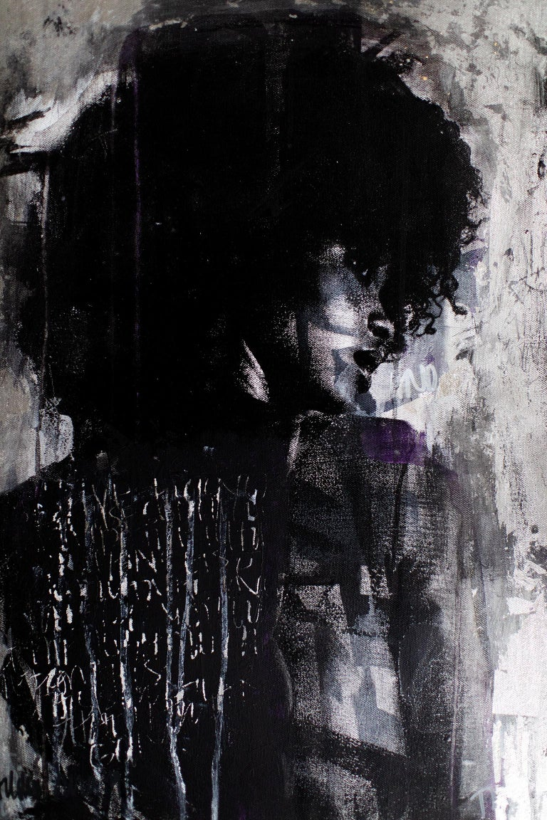 Contemporary Art Mixed Media Art : Shadow Girl, (Cortney-A4) For Sale 8