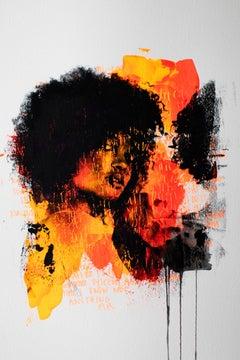 Pop Art,  Face Break, in Color (Cortney-A2-1), Orange Pop Art.