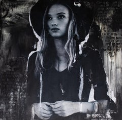 Contemporary Art Portrait Painting: Derby Hat For A Dark Day (Hannah- A3)