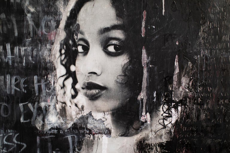 Mixed Media Portrait Painting: Lost Between The Lines, (Bethyie- A13) For Sale 3