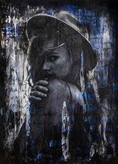 Mixed media portrait painting, Contemporary art by Addison Jones