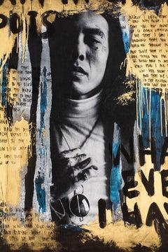 """Gold Street Art, Modern Portrait Art, Gold  Art """"Letter from a Friend"""""""
