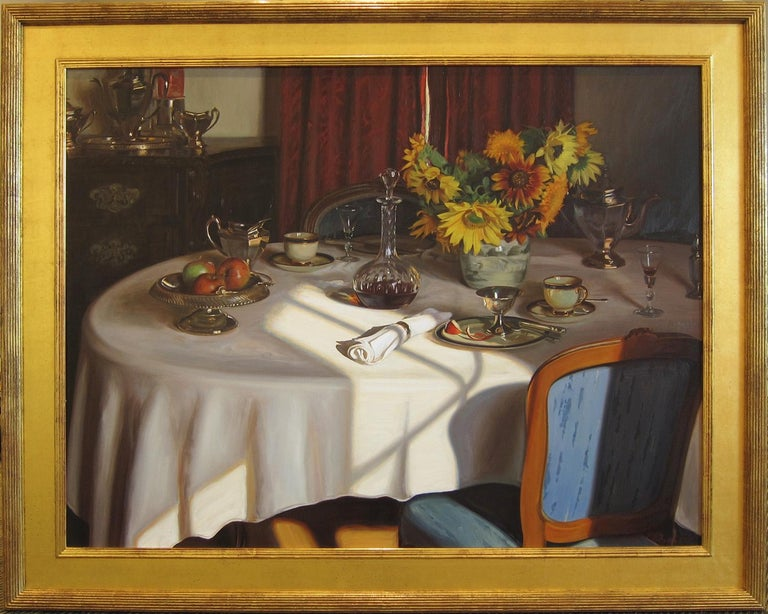 Tea, Sherry and Sunflowers, oil on canvas by Evan Wilson For Sale 1