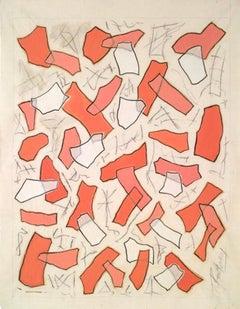 Nathalie Fontenoy French Artist, Paper collage, Fragment #4, Rose Pink
