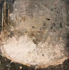 "Ines Hildur German Artist, ""White Structure"" Mixed-Media on Wood"