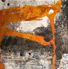 """Ines Hildur German Artist, """"Orange Shape"""" Mixed-Media on Wood"""