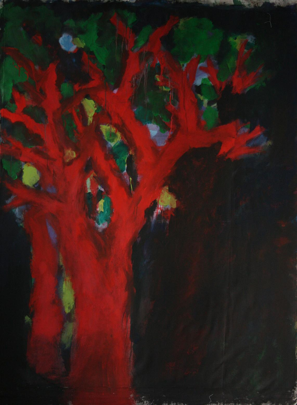 """Nathalie Fontenoy French Artist Painting """"Arbre"""" 7 Tree on Canvas"""
