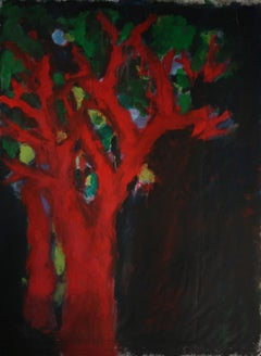 "Nathalie Fontenoy French Artist Painting ""Arbre"" 7 Tree on Canvas"