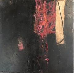 "IInes Hildur German Artist Painter ""Noir et Rouge"" Mixed-Media on Wood"
