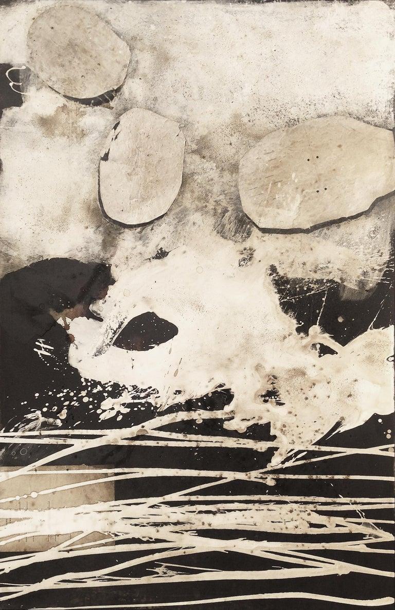"Hildur Ines Abstract Painting - Ines Hildur German Artist Painter "" Champagne"" Mixed Media"