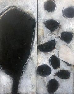 """Ines Hildur German Artist Painter """" Diptichon"""" Mixed Media on Canvas"""