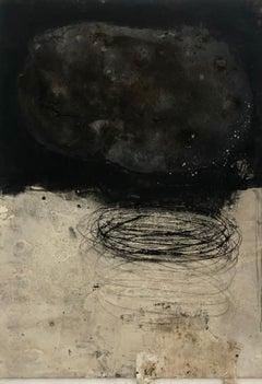 "Ines Hildur German Artist Painter "" Blackfield over Light Field"" Mixed Media"