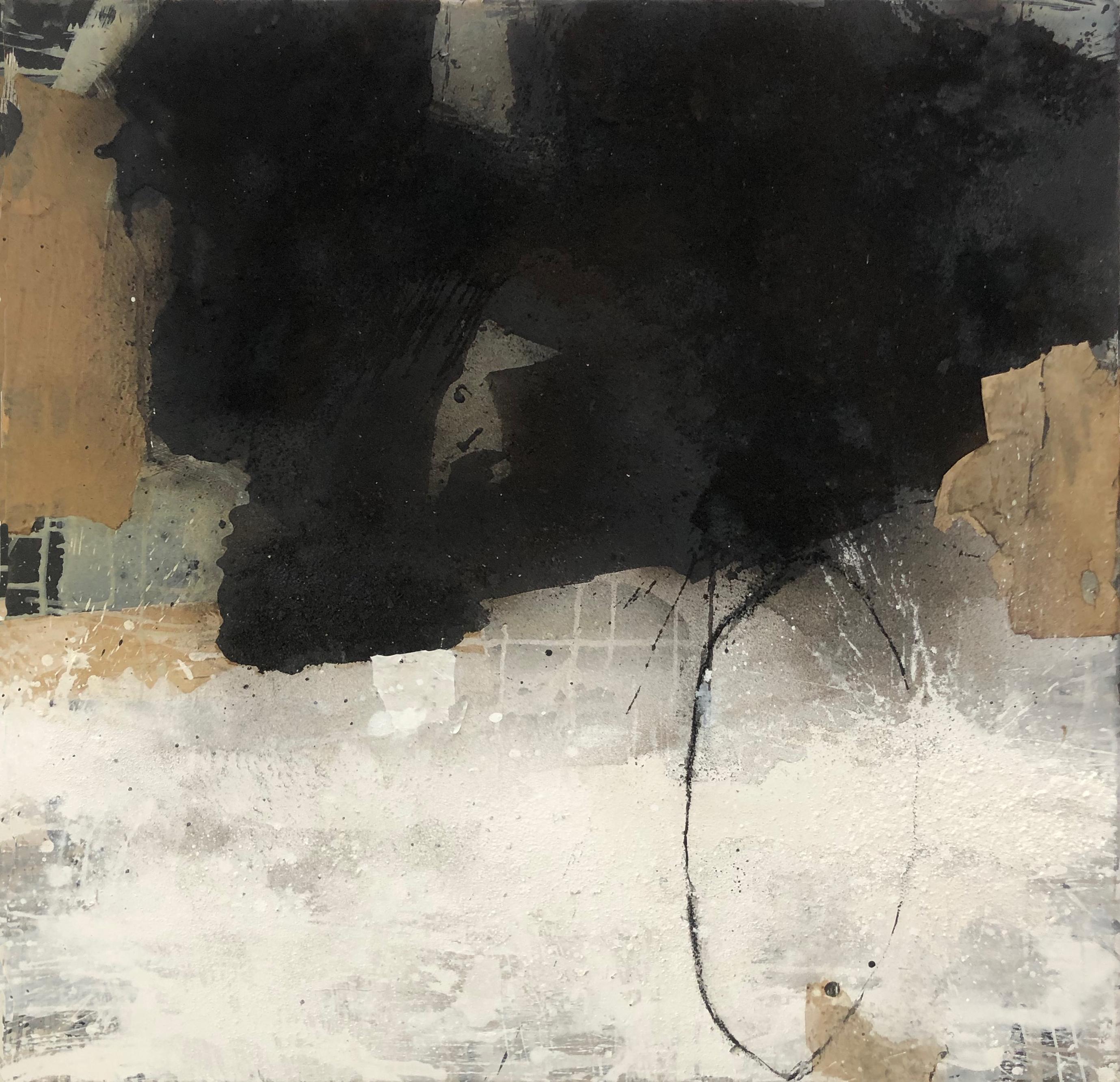 """Ines Hildur German Artist Painter """" Black and White"""" Mixed Media on Canvas"""