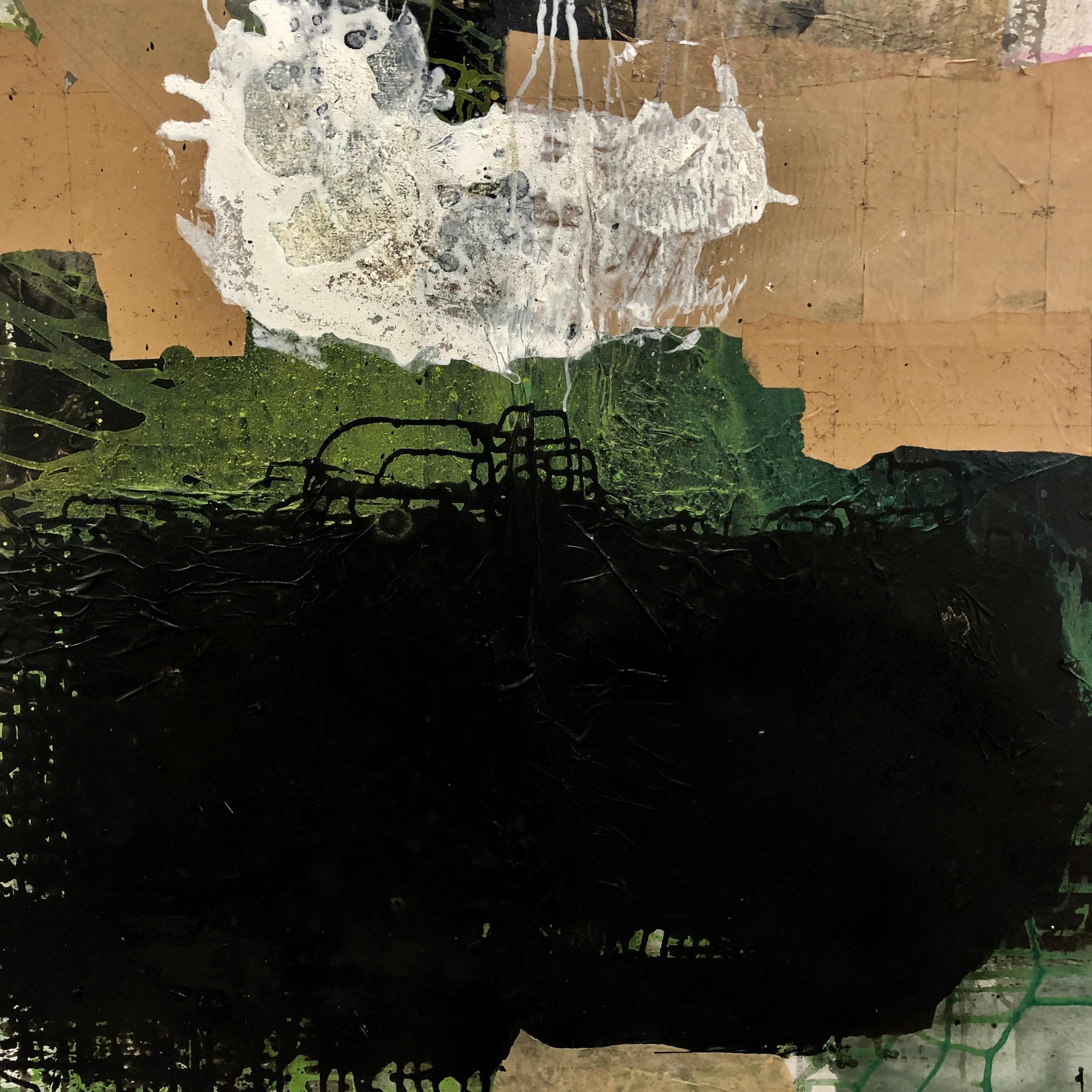 "Ines Hildur German Artist Painter "" Green and Black Field"" Mixed Media on Canvas"
