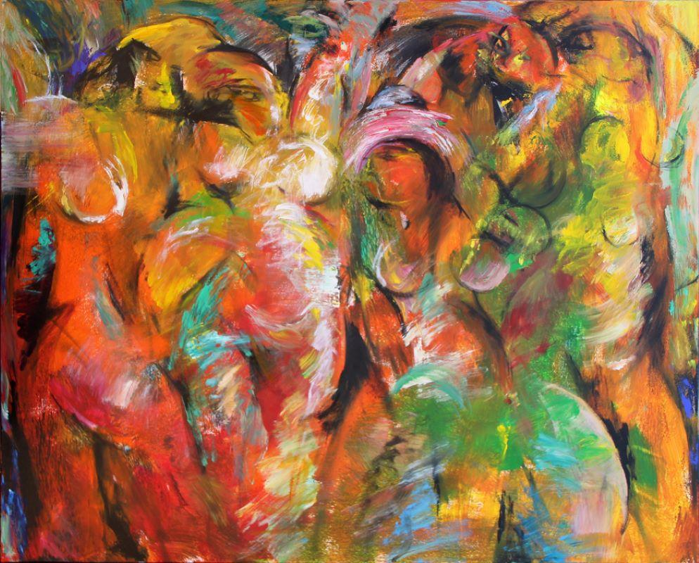 Painting, Large, Abstract, Warm Colors, Figures, The Valley by Tang