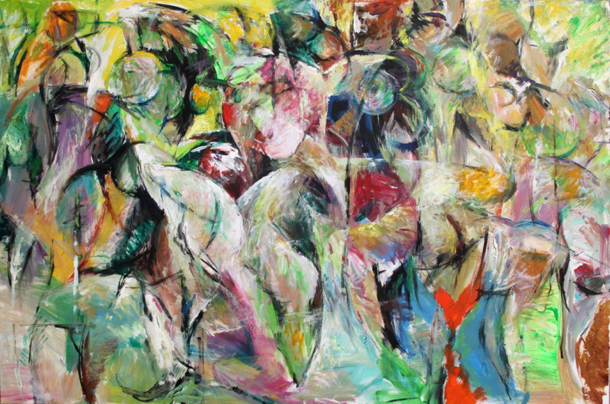 Painting, Bright Colors, Abstract, Expressive, Movement - 6.2019 by Lei Tang