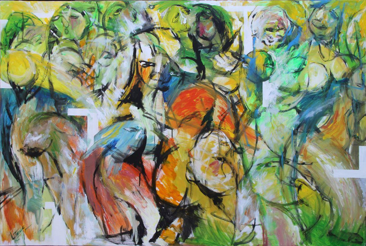 Clown-Painting, Colorful Figurative Abstract