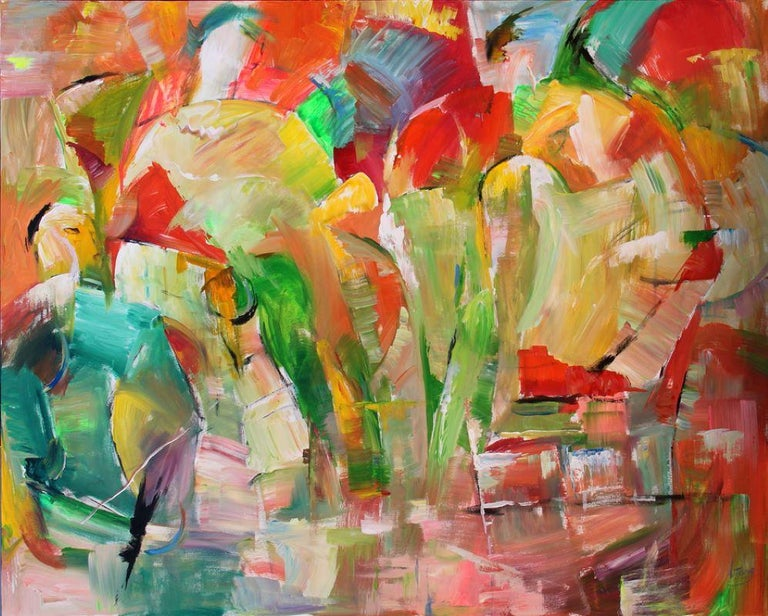 The work of Lei Tang can be best described as a provocative exploration into the style of abstract painting.   Using acrylic paints, Tang incorporates bold colors into a composition of movement and uses the entire canvas to engulf the viewer into