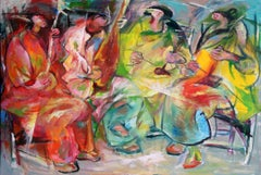 Folk Music-Painting, Musicians, Colorful Figurative Abstract