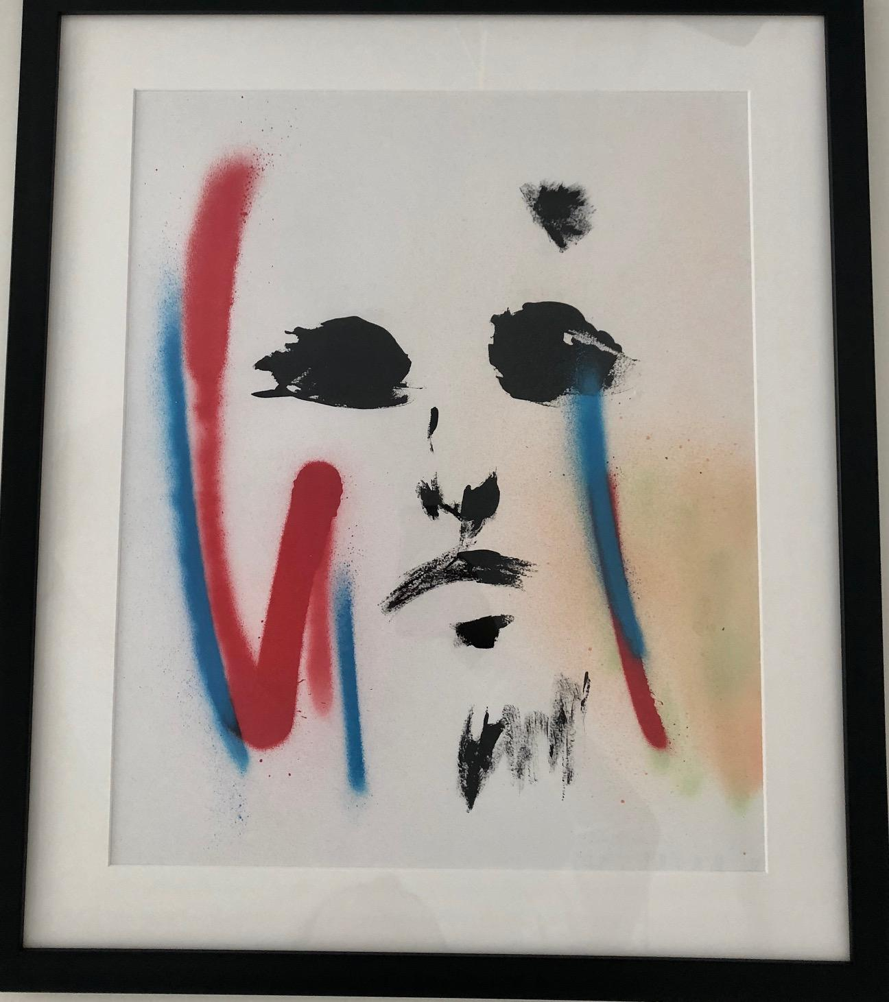 Combat Warrior-Painting, Mixed Media on Paper, Faces, Expressionism