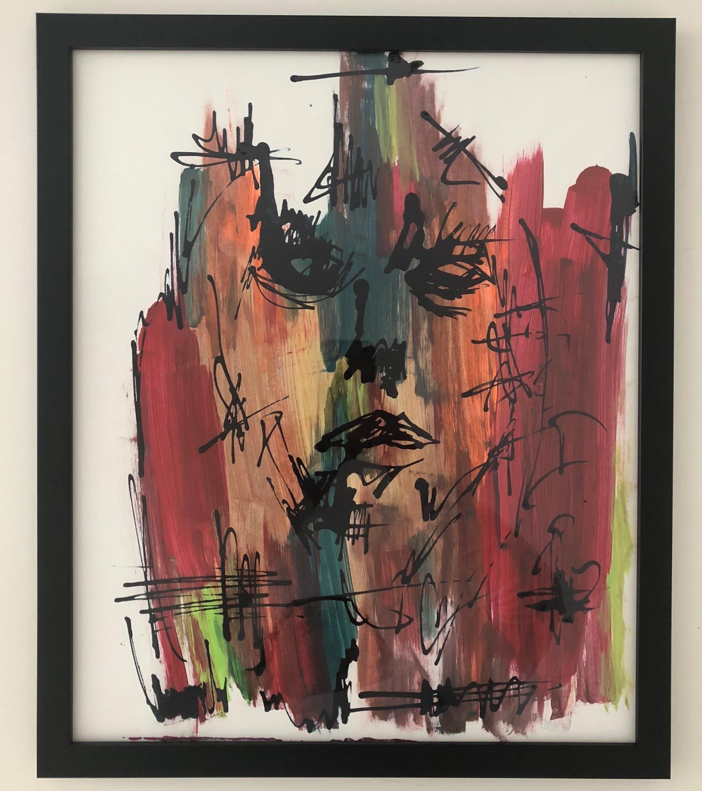 Cura Te Ipsum-Painting, Mixed Media on Paper, Bold Colors, Expressionism