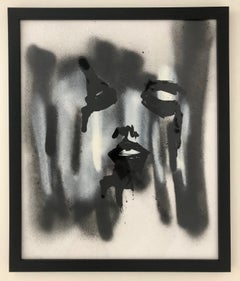 Black Face White Face-Painting, Mixed Media on Paper, Expressionism