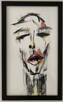 No Words-Painting, Mixed Media on Paper, Expressionism, Framed