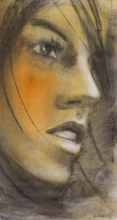 Soleil de nuit-Painting, Charcoal, Acrylic, Oil, Expressionism, Faces