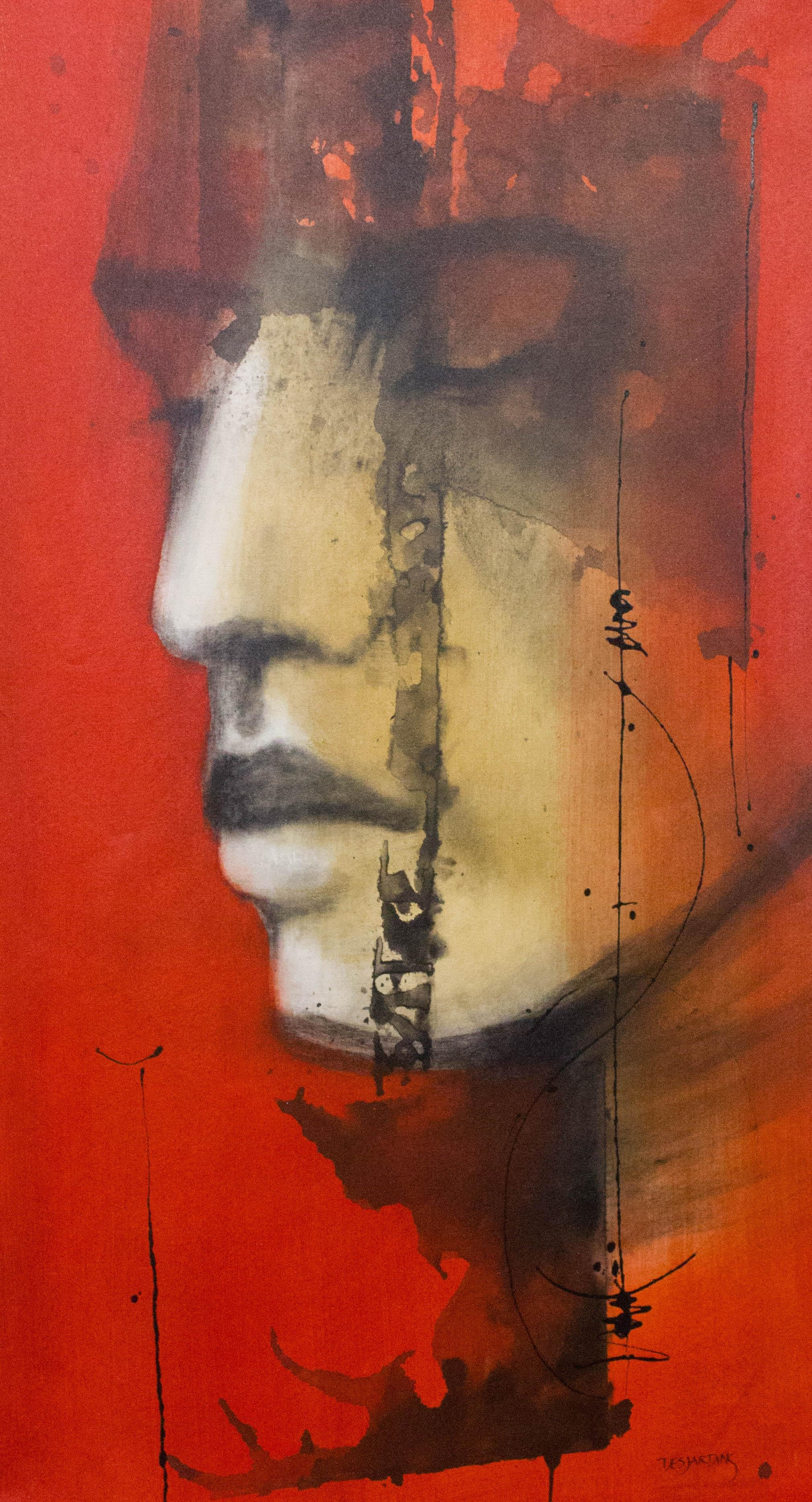 Trust-Painting, Charcoal, Acrylic, Oil, Red, Expressionism, Faces