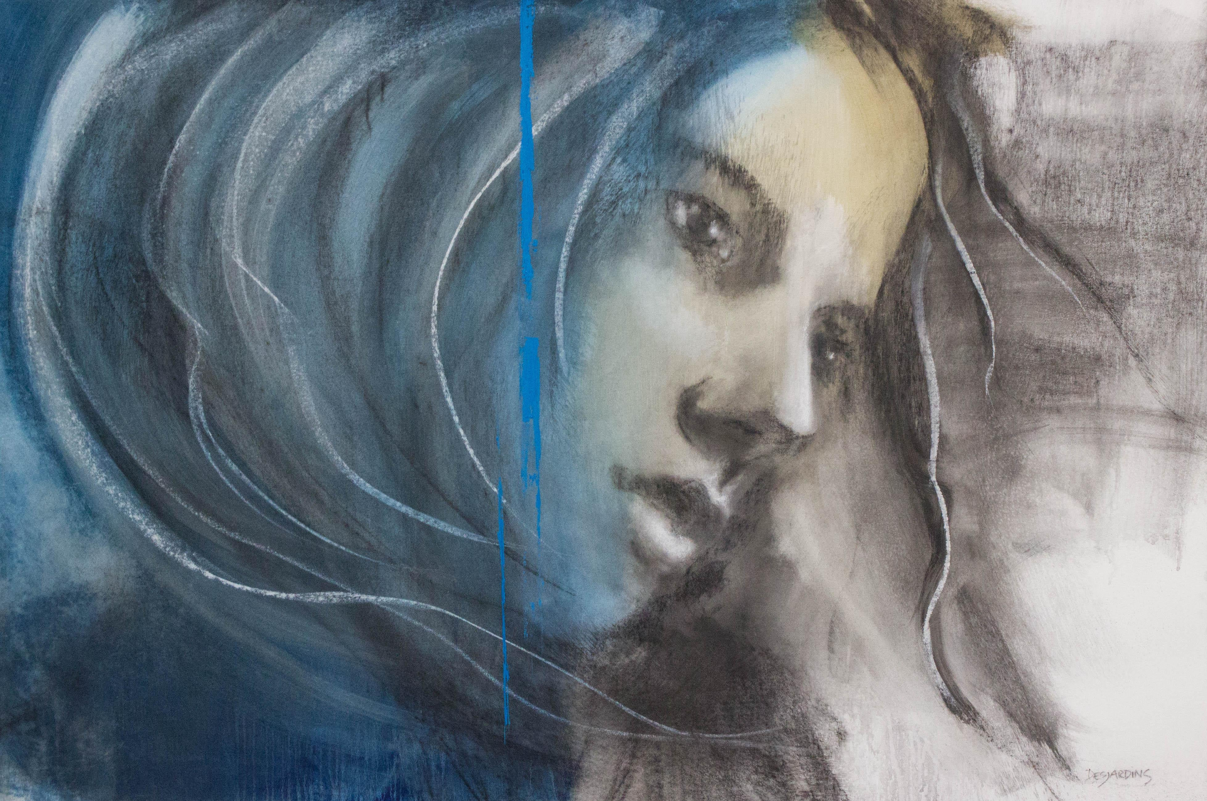 Painting, Mixed Media, Charcoal, Blue, Expressive, Face