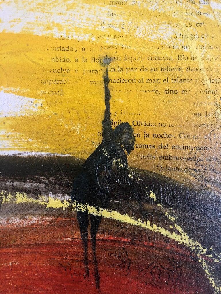 Painting, Yellow, Red, Black, Figure, Poetry, Guatemalan Artist, Rehilete  - Beige Figurative Painting by Mendel Samayoa