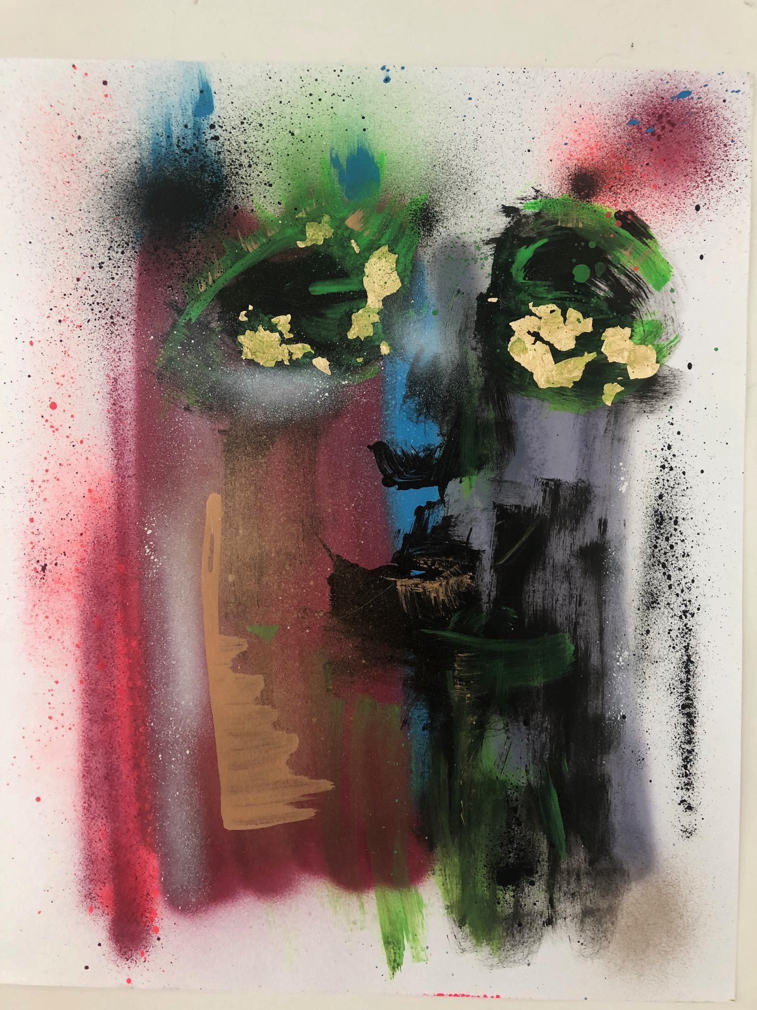 Down Play It - Expressionist Style, bold colors, Mixed Media on Archival Paper