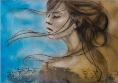 Painting, Blue, Face, Wind, Original Arreter Le Temps -by Andre Desjardins