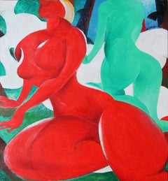 Form - Painting, Nude Figurative, Red, Blue, Green, Abstract by Lei Tang