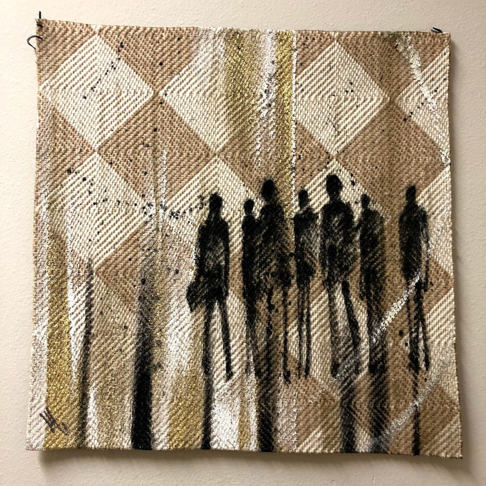 Textile Series IV - Oil Painting, Hand Woven Textile, Contemporary, Figurative
