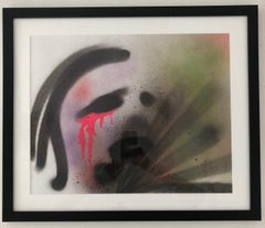 The Cryer - Mixed Media Painting on Paper, Expressionist, Contemporary Faces