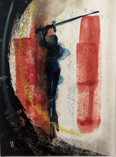 FDS III - Painting on Paper, Warrior, Bold Colors, Figurative Abstract