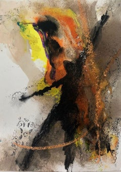 FDS II - Oil Painting on Paper, Bold, Figurative Abstract, Guatemalan Artist
