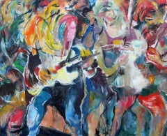 On the Road - Painting, Colorful, Musicians, Figurative Abstract by Tang