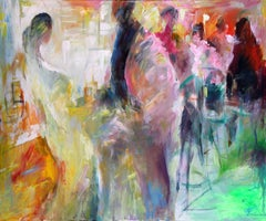 Bar Night - Painting, Social Evening, Rich Colors, Figurative Abstract by Tang